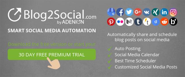Blog2Social - WordPress的智能社交媒体自动化